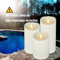 """AGLARY Battery Operated Candles with Remote Timer Control, Outside Candle, Ivory Set of 3 D 3.75"""" X H 5"""" 7"""" 9"""""""