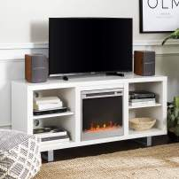"""Walker Edison Furniture Company Modern Wood and Metal Fireplace Stand for TV's up to 64"""" Flat Screen Living Room Storage Shelves Entertainment Center, White"""