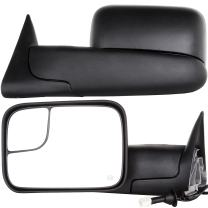 OCPTY Towing Mirrors with Power Heated Left Right Side Tow Mirrors Compatible with 1998-2001 Dodge Ram 1500 1998-2002 Dodge Ram 2500 3500 with Black Housing with Mounting Brackets