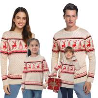 Abollria Family Matching Ugly Christmas Reindeer Snowflakes Sweater Pullover (Dad,Mom,Kids)