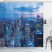 """Ambesonne New York Shower Curtain, Aerial Night View of NYC with Dusk Sky Cloudy Sunset in City Fashion Capital Art Photo, Cloth Fabric Bathroom Decor Set with Hooks, 84"""" Long Extra, Blue"""