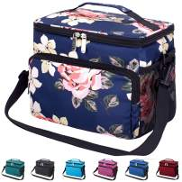 Leakproof Reusable Insulated Cooler Lunch Bag - Office Work School Picnic Hiking Beach Lunch Box Organizer with Adjustable Shoulder Strap for Women,Men and Kids-Blue Peony