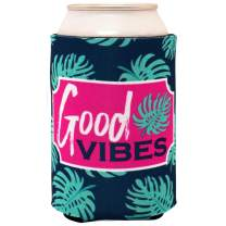 Good Vibes Navy Blue 5 x 4 Insulating Neoprene Cold Beverage Can Coolie