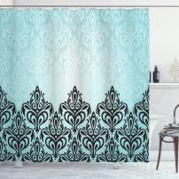 """Ambesonne Damask Shower Curtain, Modern Damask Motif with Symmetric Lines Royal Baby Color Bold Floral Pattern, Cloth Fabric Bathroom Decor Set with Hooks, 84"""" Long Extra, Blue Black"""