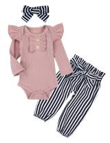 Newborn Baby Girl Clothes Outfits Infant Ruffle Long Sleeve Onesies Bodysuit Floral Pants 3Pcs Set