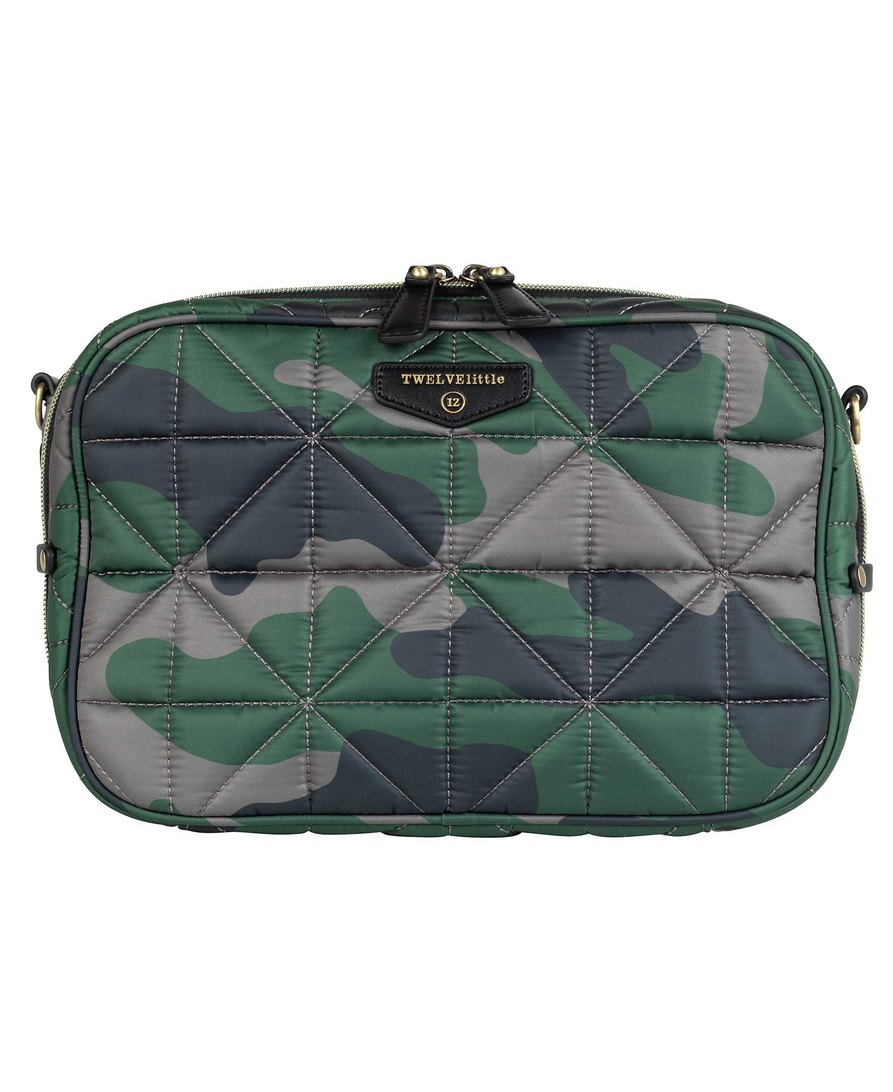 TWELVElittle Diaper Clutch 2.0 (Camo - New) - Fashion Diaper Bag for Moms and Dads, Worn As Clutch or Crossover Bag with Compartments for Diapers, Wipes and Changing Pad