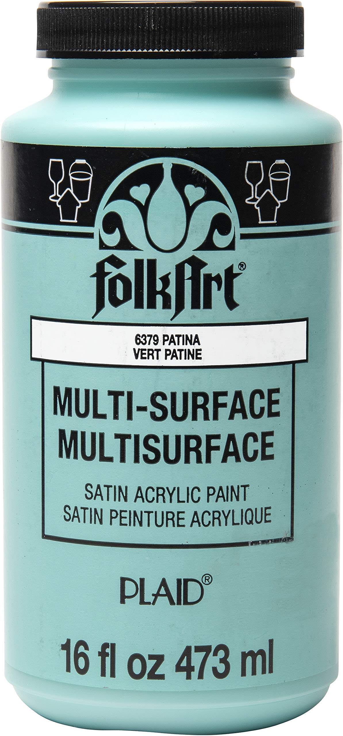FolkArt Multi-Surface Satin Acrylic Paint in Assorted Colors, 16 oz, Patina 16 Fl Oz