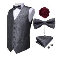 DiBanGu Men's Paisley Waistcoat and Necktie Pocket Square Cufflink Vest Suit Set for Tuxedo