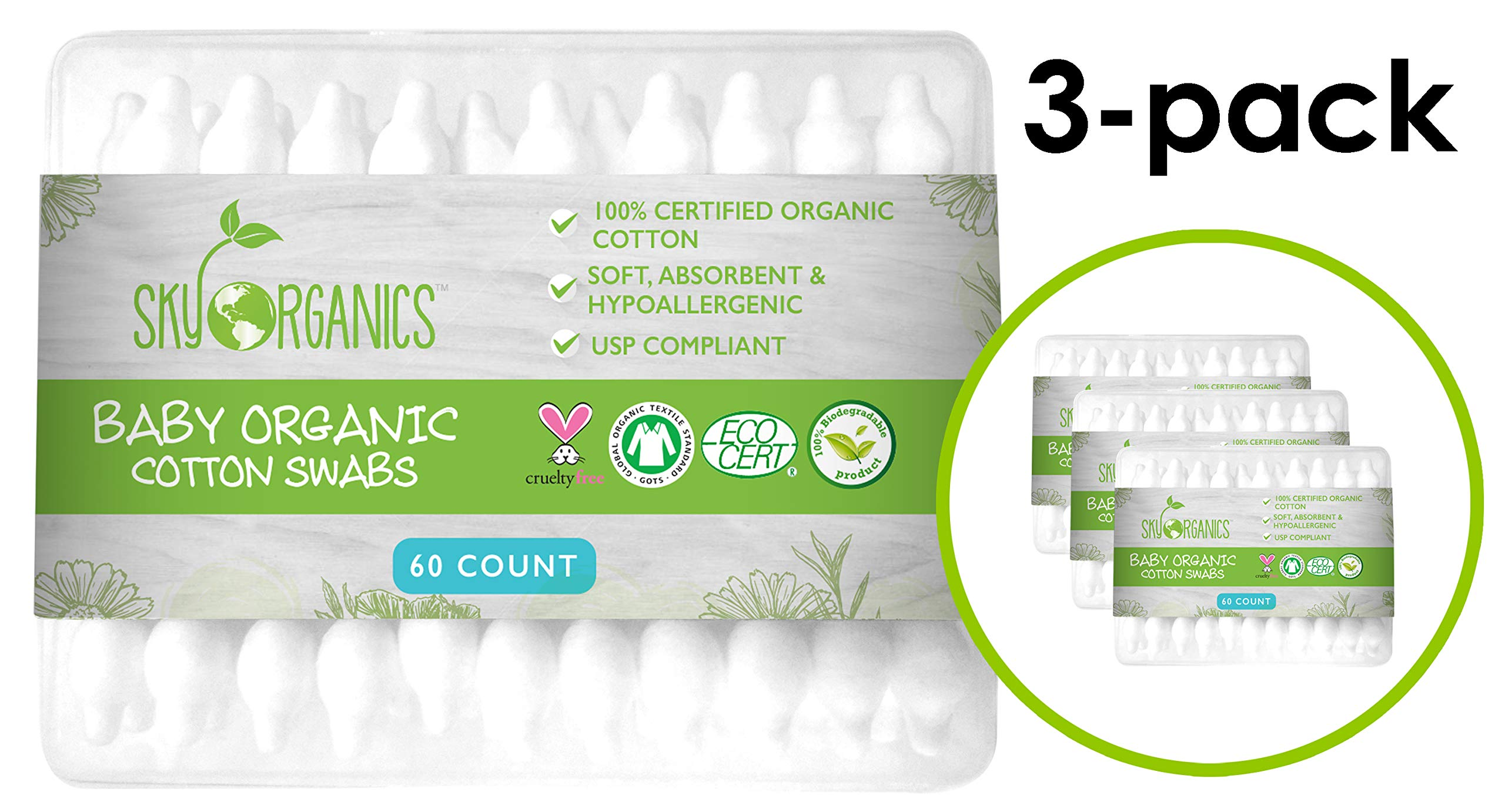 Baby Cotton Swabs (3 packs of 60 ct. Total 180), Organic Fragrance and Chlorine-Free Kids Safety Swabs, 100% Biodegradable Gentle Baby Qtips, Cruelty-Free & Hypoallergenic Children Cotton Buds