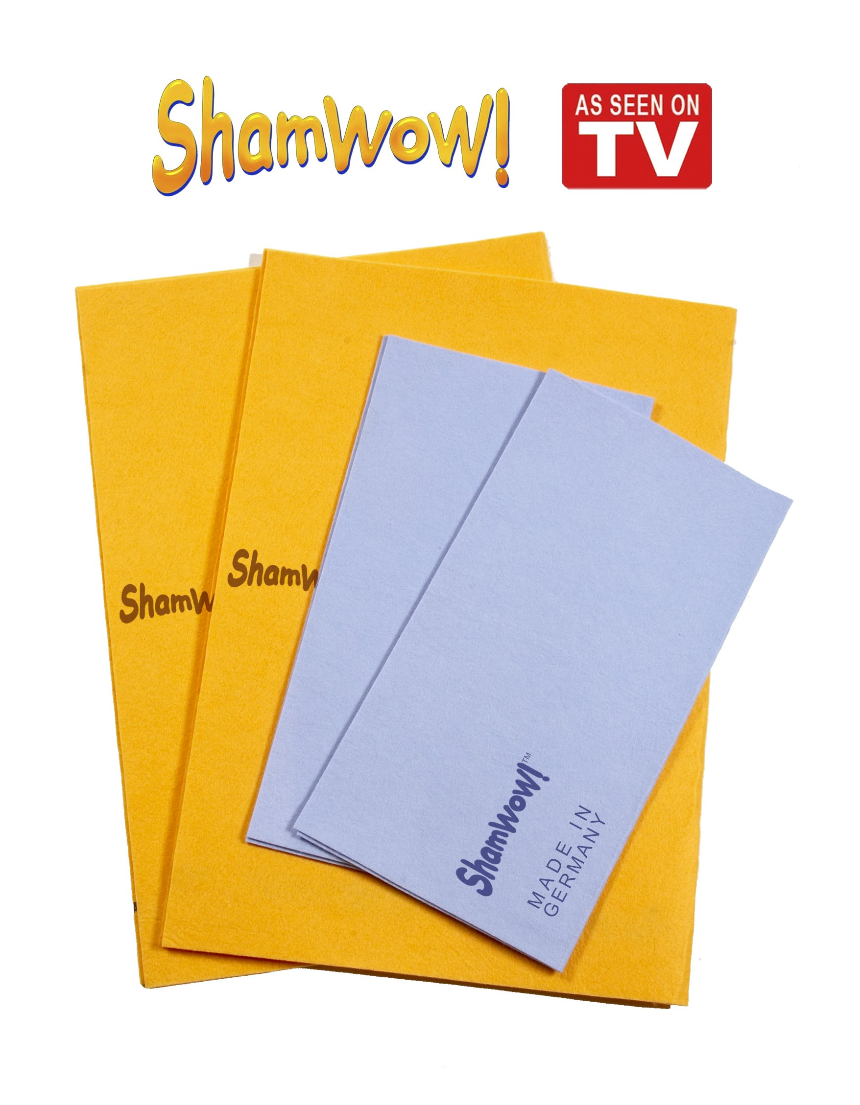 ShamWow The Original Super Absorbent Multi-Purpose Cleaning Shammy (Chamois) Towel Cloth, Machine Washable, Will Not Scratch (4 Pack: 2 Large Orange and 2 Small Blue)