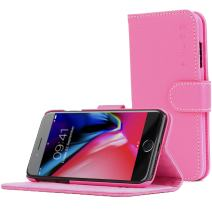 Snugg iPhone SE (2020) / 8/7 Wallet Case – Leather Card Case Wallet with Handy Stand Feature – Legacy Series Flip Phone Case Cover in Hot Pink