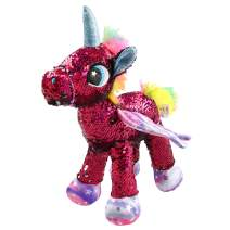 Athoinsu Flip Sequin Stuffed Unicorn Plush Toys with Reversible Glitter Sequins Sparkle Birthday for Girls Toddlers, Rose Red, 13''