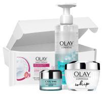SkinCare Kit by Olay Luminous Daily Glow Regimen Kit, Cleanser + Whip Moisturizer + Eye Gel + Bonus Wipes