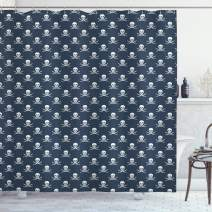 """Ambesonne Pirates Shower Curtain, Jolly Roger Pattern in Classic Nautical Colors Dangerous Halloween Character, Cloth Fabric Bathroom Decor Set with Hooks, 70"""" Long, Navy White"""
