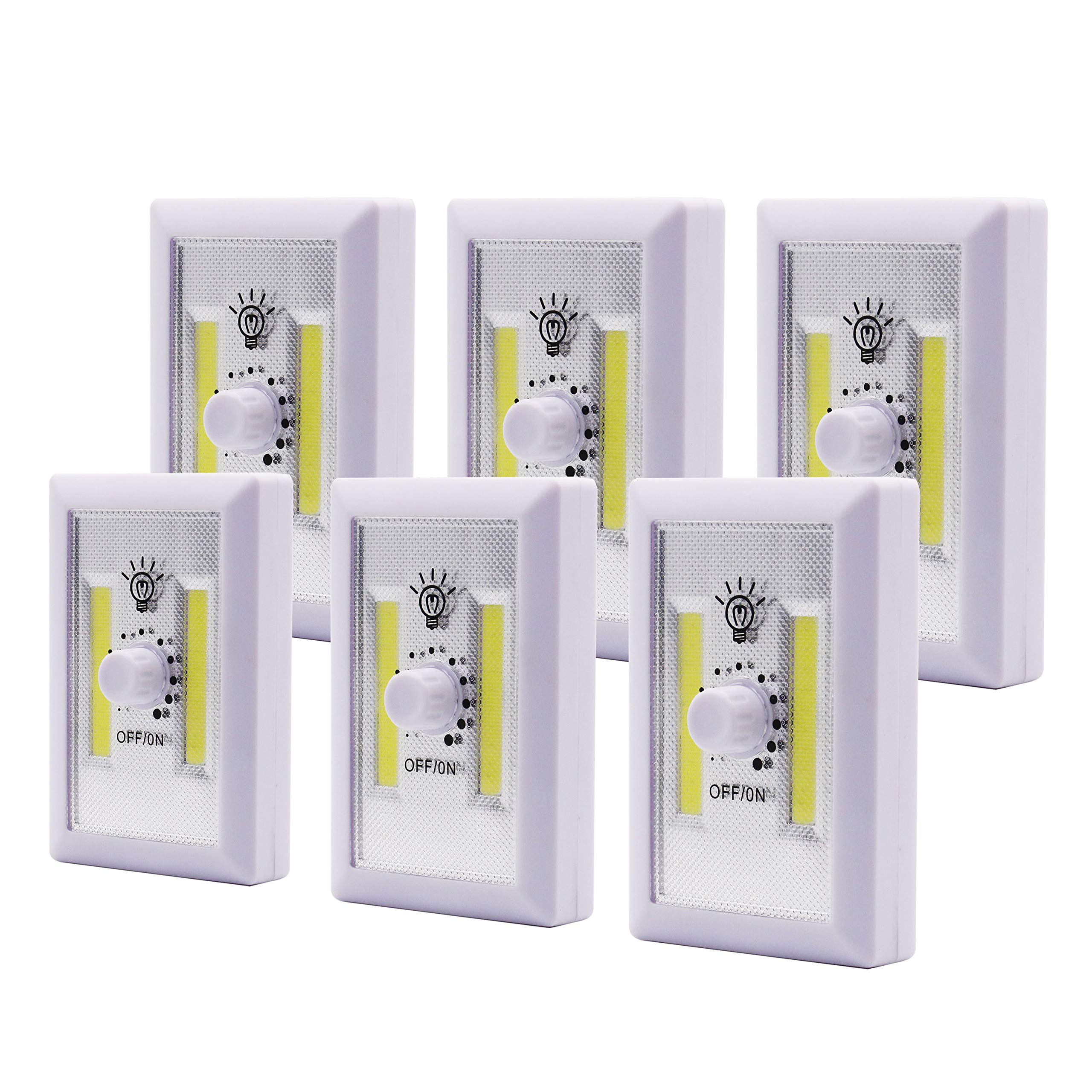 Super Bright Dimmable-Battery Operated LED Night Lights,COB LED Cordless Light Switch,Tap Light,Touch,Night,Utility,Wall Wireless Mount Under Cabinet,Shed,Kitchen,Garage,Basement and More (6 Pack)