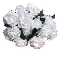 DALAMODA Pure White 2 Bundles (with Total 20 Heads) Rose Flower Bouquet, for DIY Any Decoration Artificial Silk Flower (Pure White Pack of 2)