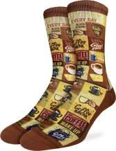 Good Luck Sock Men's Coffee Time Socks - Brown, Adult Shoe Size 8-13