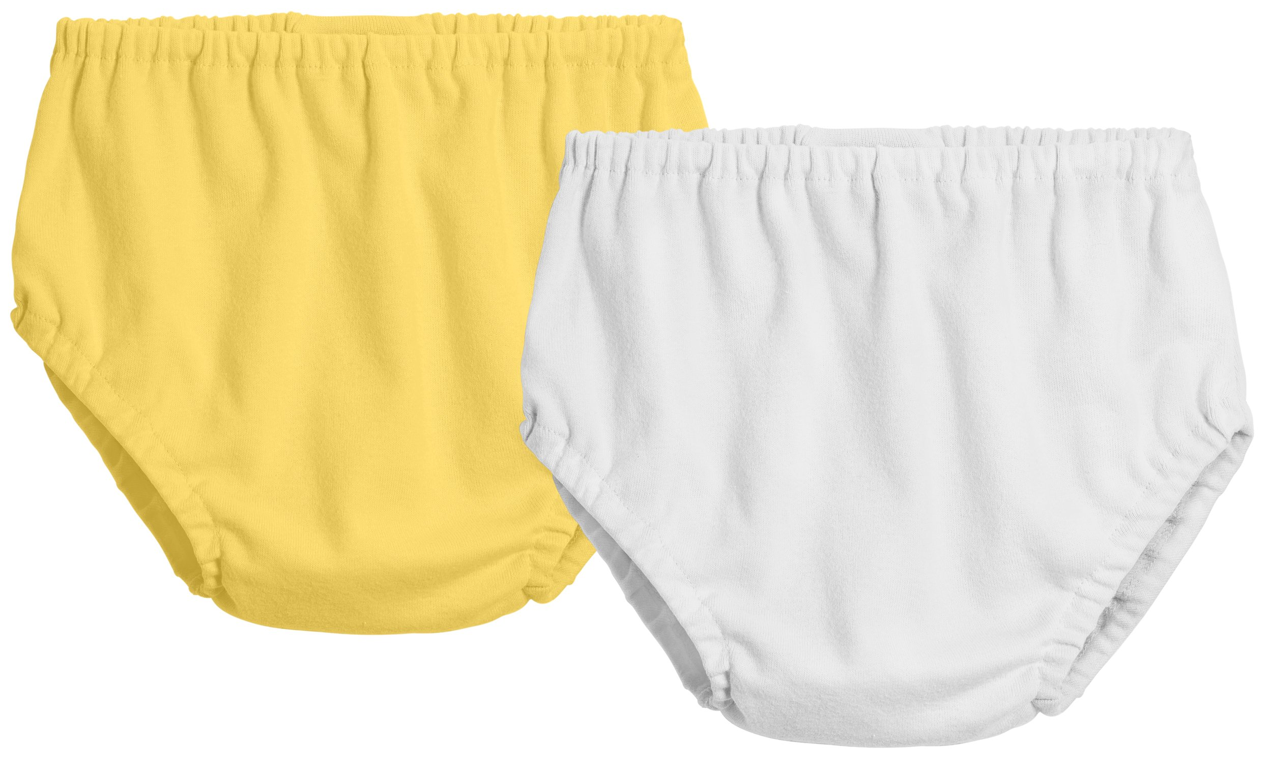 City Threads 2-Pack Baby Girls' and Baby Boys' Unisex Diaper Covers Bloomers Soft Cotton, White/Yellow, 2T