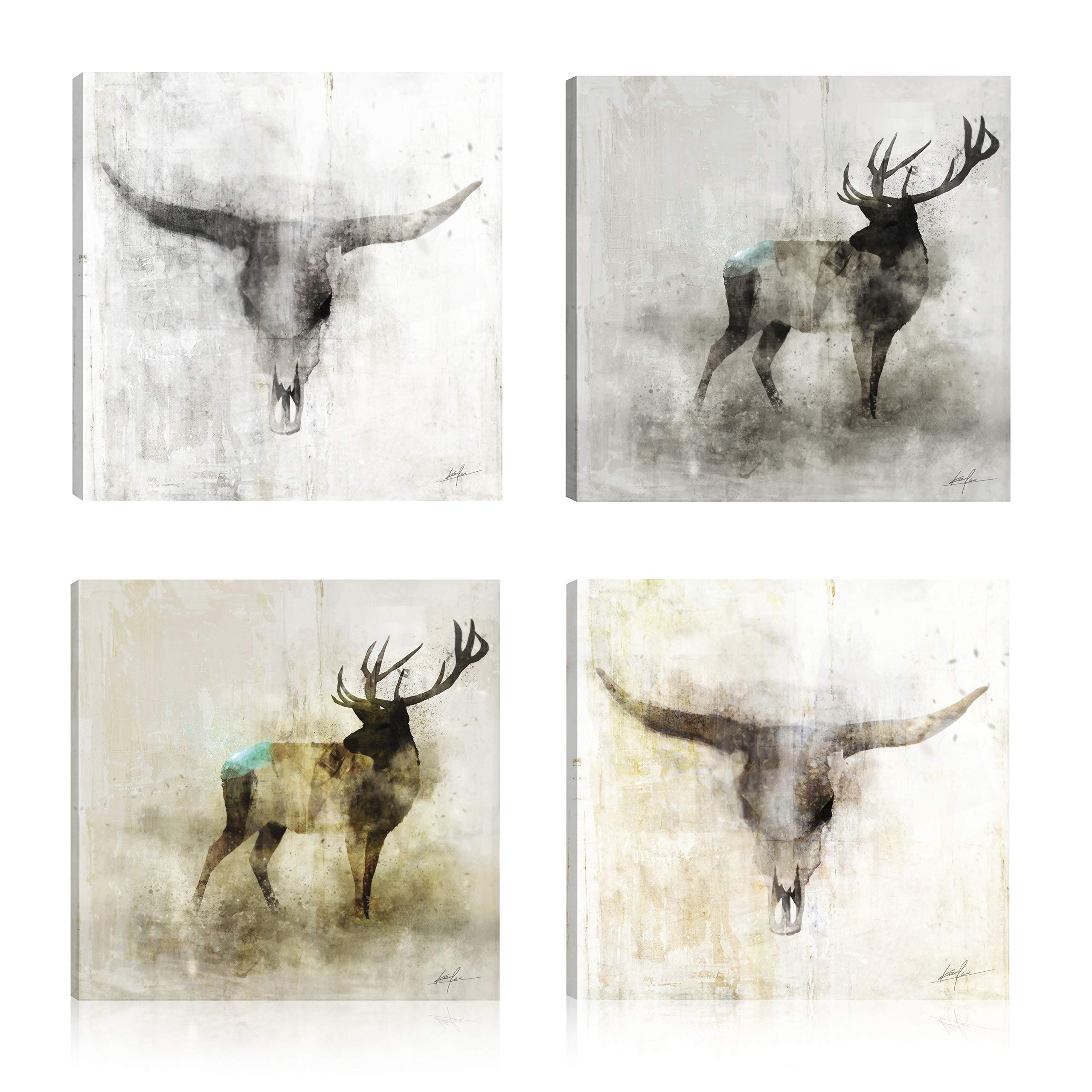 Art Maison Animals Golden Moose Giclee Gallery Wrapped Canvas Wall Art Modern Décor for Home and Office   Ready to Hang  Set of 4(12x12INCH)