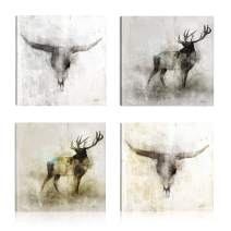 Art Maison Animals Golden Moose Giclee Gallery Wrapped Canvas Wall Art|Modern Décor for Home and Office | Ready to Hang |Set of 4(12x12INCH)