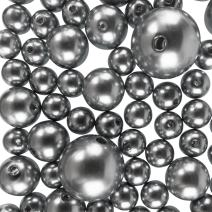 Super Z Outlet Elegant Glossy Polished Pearl Beads for Vase Fillers, DIY Jewelry, Table Scatter, Wedding, Birthday Party Home Decoration, Event Supplies (8 Ounce Pack, 70 Pieces) (Silver)