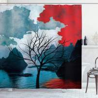 """Ambesonne Lonely Tree Shower Curtain, Ocean Mountains with Blurred Background Idyllic Nature Photo, Cloth Fabric Bathroom Decor Set with Hooks, 70"""" Long, Black Red"""