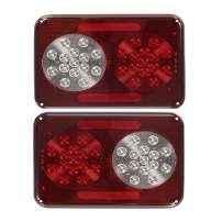 Partsam 2Pcs Double Led Trailer Tail Lights with Stop Turn Tail Backup Reverse Lights 30 LED Horizontal Mount/Vertical Mount, Surface Mount RV Double Led Taillights, RV Double Led Tail Lights