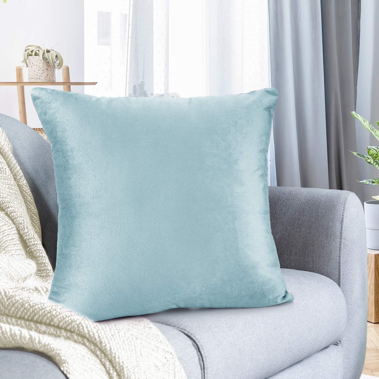"Nestl Bedding Throw Pillow Cover 18"" x 18"" Soft Square Decorative Throw Pillow Covers Cozy Velvet Cushion Case for Sofa Couch Bedroom - Aqua Light Blue"