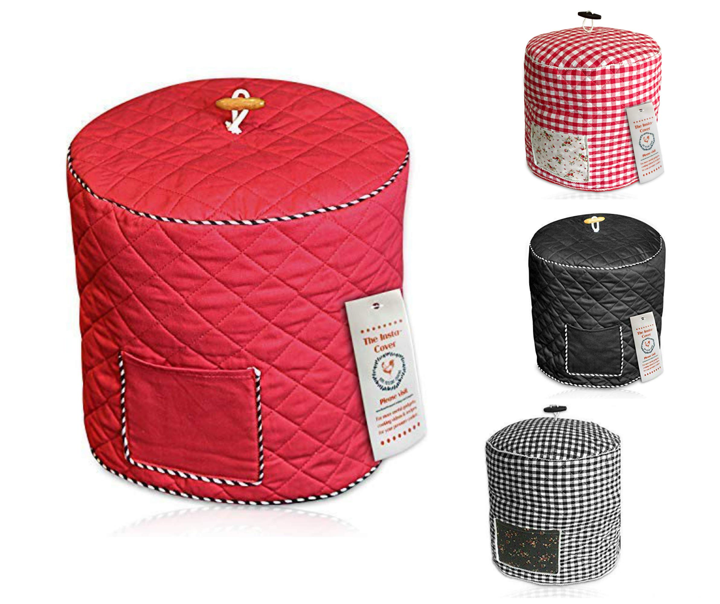 Electric Pressure Cooker Cover Decorative Cover with Pocket for Accessories Fits 6QT INSTANT POT and similar size (Red)