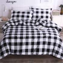 Andency Black White Grey Plaid Comforter Sets King (104x90 Inch), 3 Pieces (1 Gingham Comforter and 2 Pillowcases), Soft Microfiber Buffalo Check Down Alternative Comforter Set