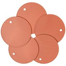 Silicone Pot Holder and Oven Mitts, Multipurpose Non-Slip Insulation Honeycomb Rubber Hot Pads Trivet, Heat Resistant Antislip Place Mat, Pack of 5 (Light Pink)