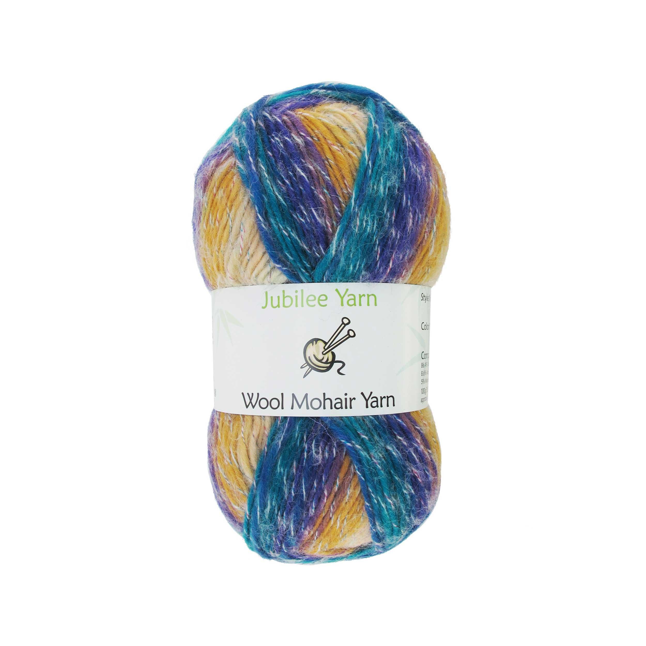 BambooMN Brand - Wool Blend Yarn Worsted Weight - Mohair Yarn - 100g/Skeins of Tropic Multi - 2 Skeins