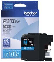 Brother LC-103C DCP-J132 J152 J171 J4110 J552 J752 MFC-J245 J285 J4310 J4410 J450 J4510 J870 J875 Ink Cartridge (Cyan) in Retail Packaging