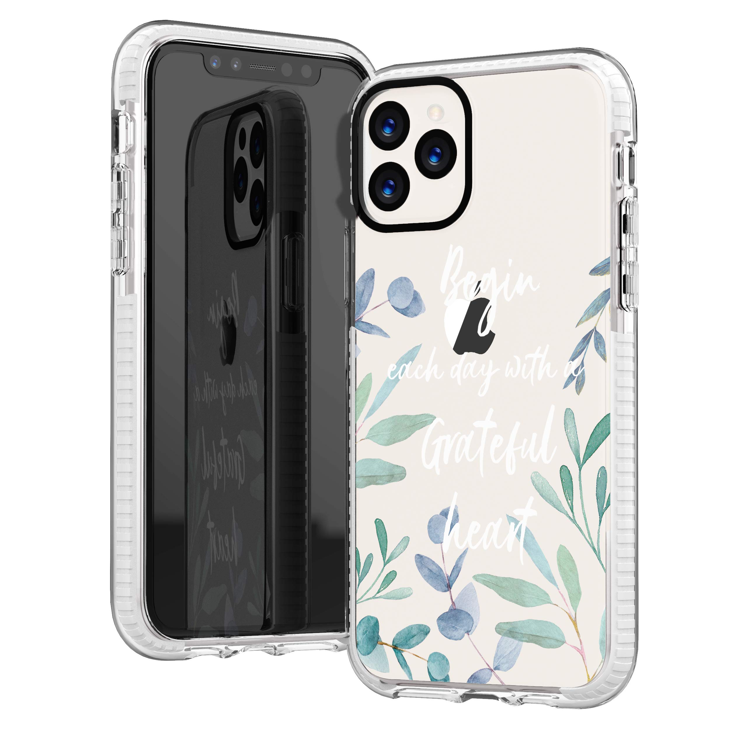 iPhone 11 Pro Max Case,Cute Bible Verses Quotes Flowers Florals Green Leaves Spring Blossoms Christian Inspirational Girls Women Soft Protective Clear Case Design Case Compatible for iPhone 11 Pro Max