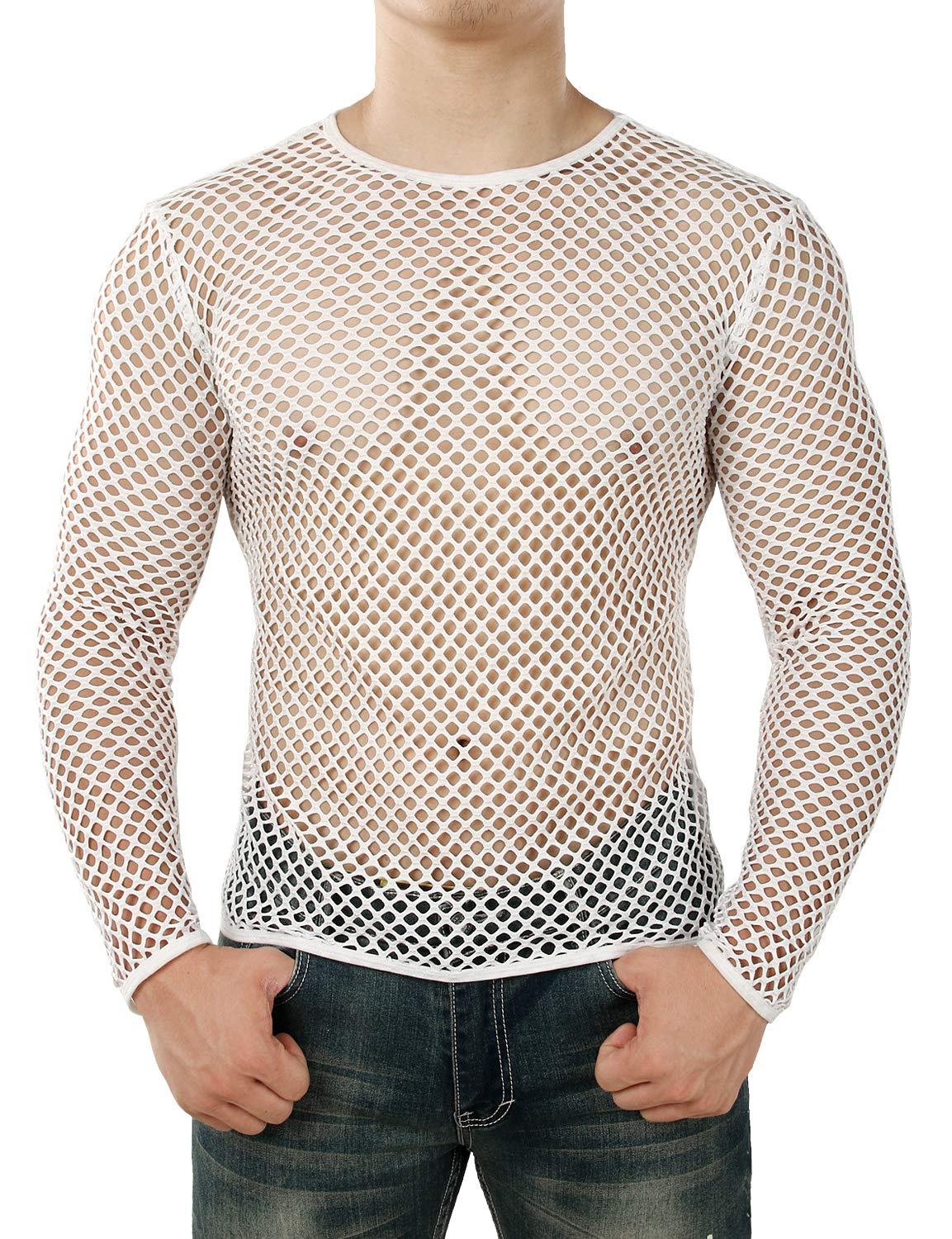 JOGAL Men's Mesh Fishnet Fitted Long Sleeve Muscle Top