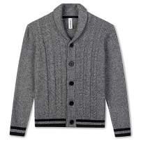 BOBOYOYO Boys Cardigan Sweater Long Sleeve Cotton Sweater Soft Warm Cross Neckline for Kids Size 4-12Y
