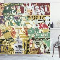 """Ambesonne Retro Shower Curtain, Grunge Style Collage Print of Old Torn Posters Magazines Newspapers Paper Art Print, Cloth Fabric Bathroom Decor Set with Hooks, 75"""" Long, Mustard Beige"""