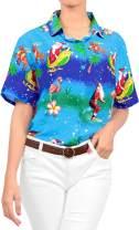LA LEELA Womens Hawaiian Blouse Shirt Relaxed Fit Tropical Beach Shirt Printed B