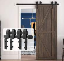 """HomLux 5ft Bypass Sliding Barn Door Hardware Kit for Double Doors, Upgraded One Single Track, Easy to Install and Reusable, Smoothly - Fit 1 3/8-1 3/4"""" Thickness Door Panel, Black (J Shape Hanger)"""
