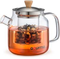 NEW & IMPROVED Gourmia GTP9810 Glass Tea Pot & Infuser With Handle, Lid & Loose Tea Filter, Removable Glass Infuser, 680ml Capacity