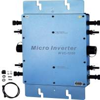 VEVOR Solar Grid Tie Micro Inverter, 1200W Solar Micro Inverter, IP65 Waterproof Solar Inverter, Solar Power Grid Tie Inverter DC22-50V Input to AC180-260V Output Micro Inverter for Solar Panel System