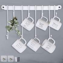 Coffee Mug Holder | Cup Rack (White/17-Inch) Space Saver Organizer with 8 Hooks for Coffee Mug Wall Rack