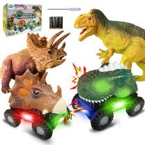 Dinosaur Toys Cars Set for Kids 4 Pack, Dinosaur Vehicles Set Dino Cars with LED Light Sound Animal Vehicles with 2Pcs Dinosaur Figures for 3-8 Year Old Boys Toddlers Girls Christmas Birthday Gifts