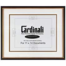 """Cardinali Diploma Frame - Archival University College Graduation High School Diploma, Document, Certificate Frame Glass & Hanging Hardware - Black & Gold - 11 x14"""" Opening - Frame Size 18.75""""x15.75"""""""