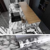 VEELIKE Marble Contact Paper 15.74 x 354.33inches Easy to Clean Removable Peel and Stick Wallpaper Self-Adhesive Film Shelf Paper Decorative Paper for Dining Room Living Room Kitchen Bathroom