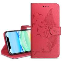 HianDier Wallet Case for iPhone 11 Card Holder Case with Kickstand Flip Cover Embossed Feather Dual Layer Protective Soft PU Leather Cover Case for 2019 Release iPhone 11 iPhone XI, Red