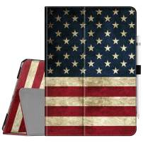 "Fintie Folio Case for New iPad 7th Generation 10.2 Inch 2019 - [Corner Protection] Premium Vegan Leather Smart Stand Back Cover with Pencil Holder, Auto Sleep/Wake for iPad 10.2"" 2019, US Flag"
