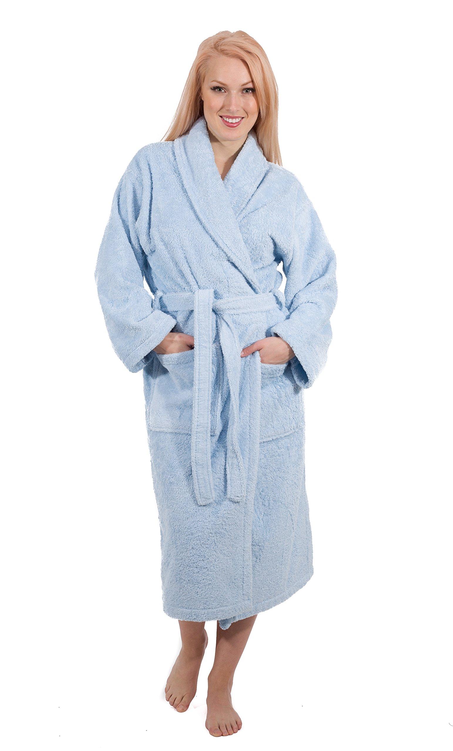 Luxury Terry Cloth Hotel Bathrobe - Premium 100% Turkish Cotton Robe Unisex (Small, Ice Blue)