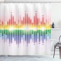 "Ambesonne Music Shower Curtain, Rainbow Digital Style Equalizer Amplifier Recording Equipment Night Club Disco Theme, Cloth Fabric Bathroom Decor Set with Hooks, 70"" Long, Rainbow Colors"