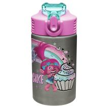 Zak Designs Trolls Poppy - Stainless Steel Water Bottle with One Hand Operation Action Lid and Built-in Carrying Loop, Kids Water Bottle with Straw Spout is Perfect for Kids (15.5 oz, 18/8, BPA-Free)